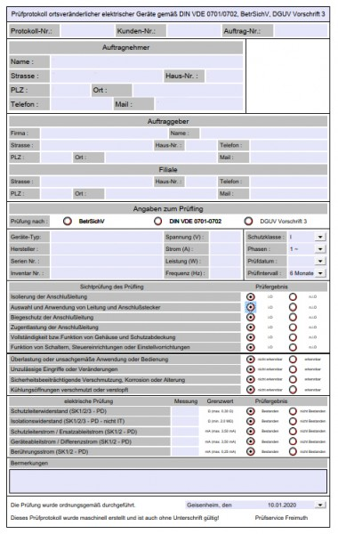 Prüfformular DGUV V3 als PDF für selbstständige Prüfer